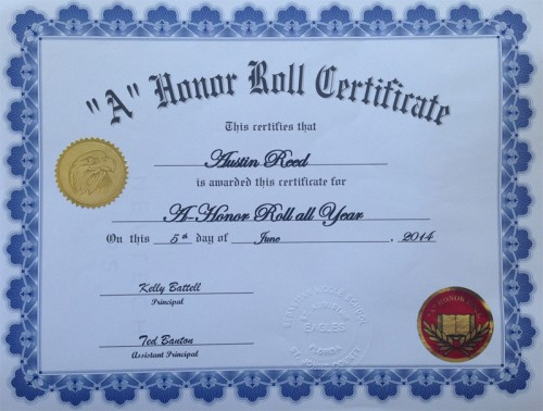 Honor roll certificate for austin reed austin reed 14 for A b honor roll certificate template